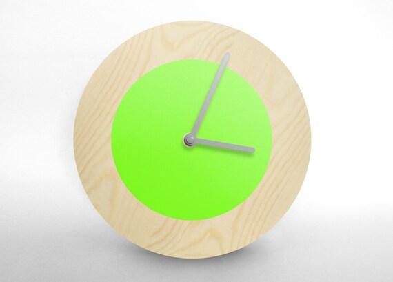 Hey Fishy - Modern fluorescent green designer wall clock