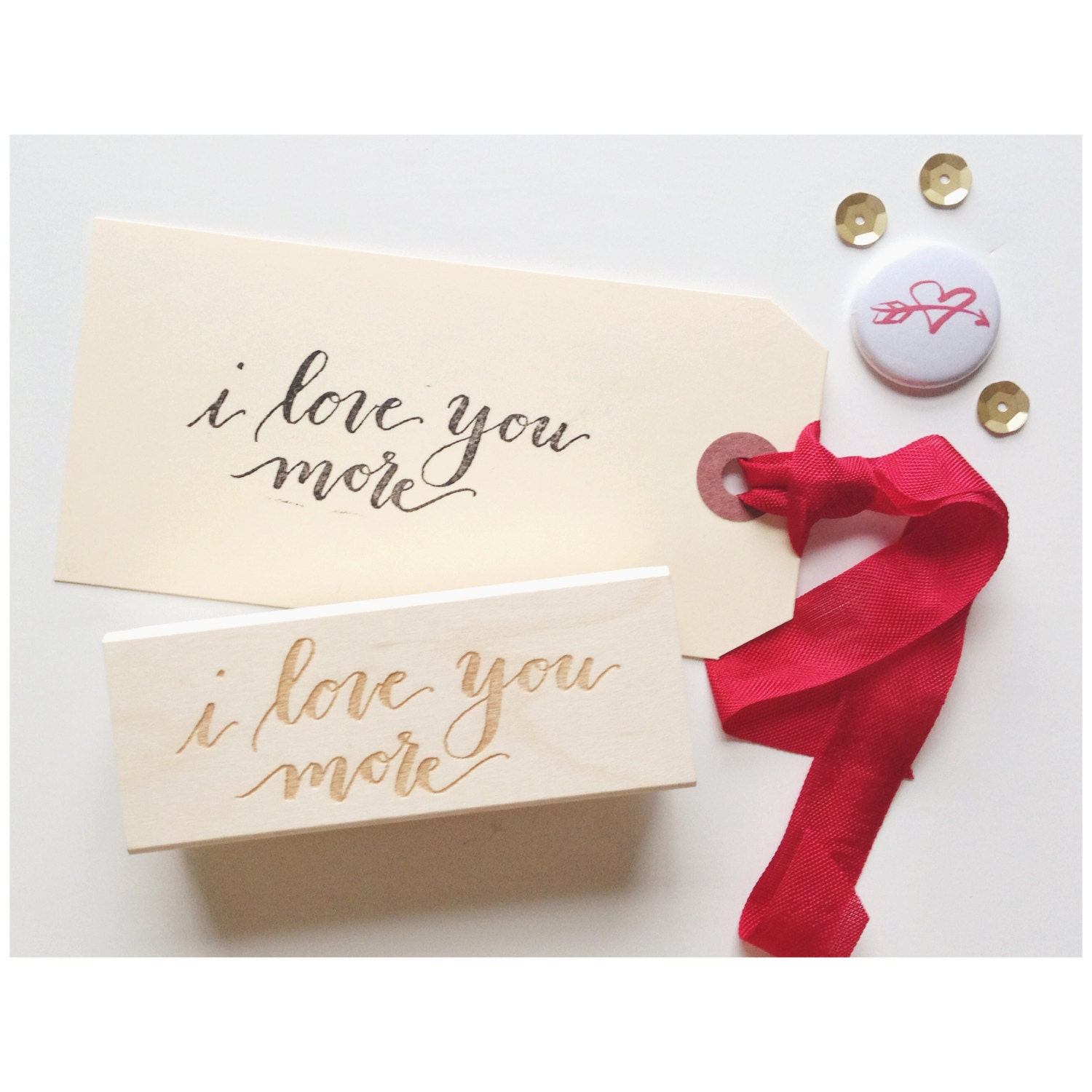 I Love You More Calligraphy Stamp By Letterpaperpaint On Etsy