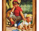 Babysitting Little Brother Art Print RESTORED VINTAGE Art Print