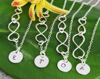 4 Set of  Bridesmaid Neckalce, Bridesmaid Jewelry, Personalize Bridesmaid Gifts, Double Infinity Initial Neckalce, Sideways Double Infinity