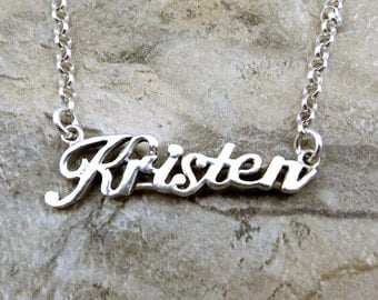 Sterling Silver Name Necklace -Kristen- on Sterling Silver Rolo Chain in Length of Choice -1892