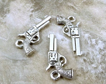 Three (3) Pewter Hand Gun/Six Shooter Charms - Free Shipping in the US - (0753)