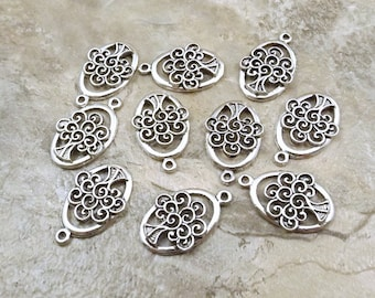 Ten (10) Pewter Tree of Life Charms -1639