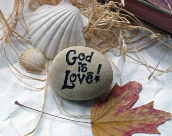 God Is Love Small Engraved Paperweight Stone