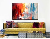 """Large Abstract painting, Acrylic Painting, Landscape, 36"""", Original Painting, Canvas, Large Canvas Art, Wall Art, Etsy"""