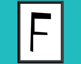Typography DIGITAL PRINT Monogram Initial Wall Art Sybil Letter F 5x7