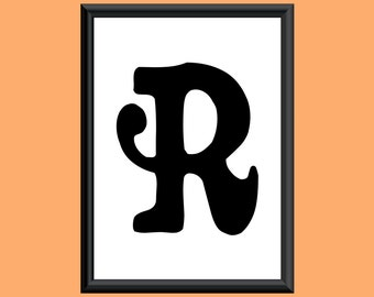 Typography Giclee Print Monogram Initial Wall Art Sixties Letter R