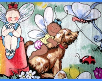 Pet Fairies  Cat and Dog Fabric Retired Out of Print FQ