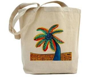 Art Tote Shopping Book Bag Palm Tree