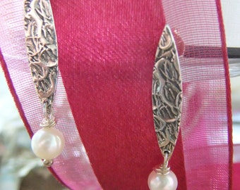 Classy Feminine Woman Earrings,Sterling Silver Pearl Earrings, Weddings ,June Birthday's and Proffessional Accessory