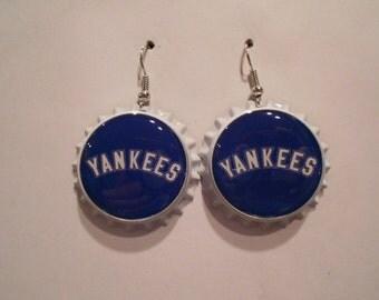 New York Yankees bottle cap earrings