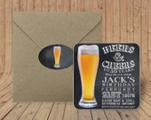 Custom Coasters - Optional Craft paper envelopes & matching sealing stickers - Beers and Cheers Birthday Invitation - Pint Pilsner Glass