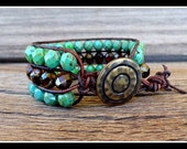 Three Row Beaded Leather Boho Chic Style Cuff Bracelet with Fire Polished Czech Glass Beads
