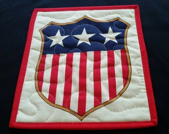 Patriotic Mug Rug, Stars and Stipes Shield, USA, 4th of July, Memorial Day, Labor Day, Red White and Blue, Snack Mat, Pot Holder, Trivet