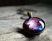 Orion nebula necklace pendant Blue pink purple galaxy necklace Glass dome necklace Planet necklace Solar system Cabochon Picture  For her