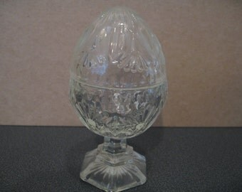 Vintage Pressed Glass Egg Shaped Jar With Removable Top