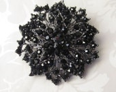 Black Rhinestone Brooch / Bridal Brooch / Crystal Brooch Component / Flower Brooch RBR-38 - Black