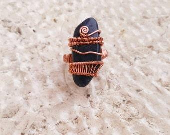 Wire wrapped dumortierite ring, dumortierite copper ring, dumortierite ring