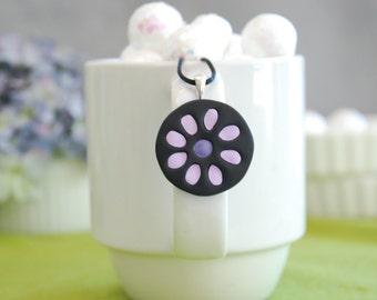 Pretty posy!  Lavender Polymer clay inlay pendant necklace.