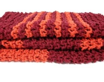 Orange burgundy dish cloths  Hand knit wash cloths Striped Small knitted dishrag Recycled cotton yarn