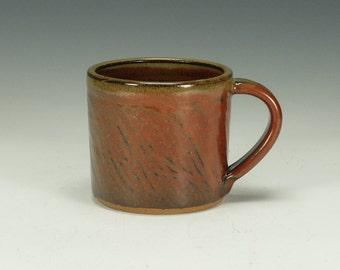 Pottery mug.  Handmade stoneware.  Iron red glaze.  Ready to ship.