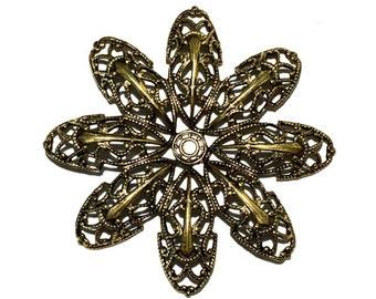 2 Gold Flower Filigree, Antique Gold, Stamping, 46mm