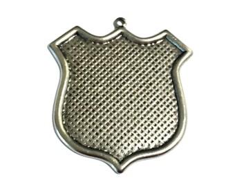 2 Brass Pendant, Antique Silver, Pendant, Charm