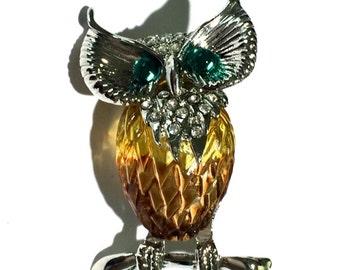 Vintage Owl Brooch, Resin Owl Brooch, Animal Brooch