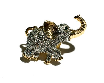 Rhinestone Elephant Brooch, 28mm, Tie Tack