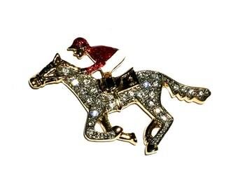 """Enamel Jockey on Horse Brooch, Equestrian, 1 3/4"""""""