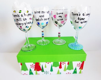 4 piece funny wine glass gift set hand painted wine glasses with decorative photo box always time for wine love wine happy pill every glass