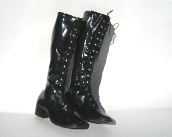 1960s black vinyl lace-up gogo boots - lace up boots - size 6 - gladiator boots - mod boots - vintage go go boots