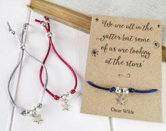 Star Friendship Bracelet with Oscar Wilde Quote - Gift for book lover - Silk cord bracelet