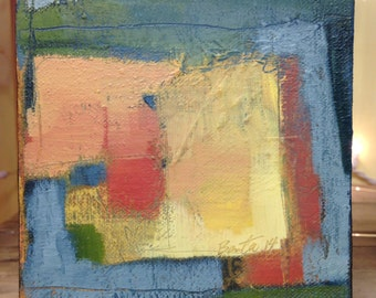"""small abstract painting 5x5 """"composition with 16"""" oil on linen"""