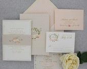 Wedding Invitation, Elegant Wedding Invitation, Garden Wedding, Modern, Sweet, Romantic, Floral Wedding Invitation - Love Wreath Deposit