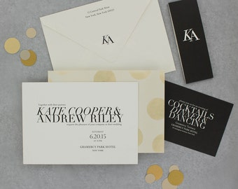 Wedding Invitations, Floral Wedding Invitation, Black and Gold, Roses, Modern, Urban Chic Wedding Invitation - Kate Sample