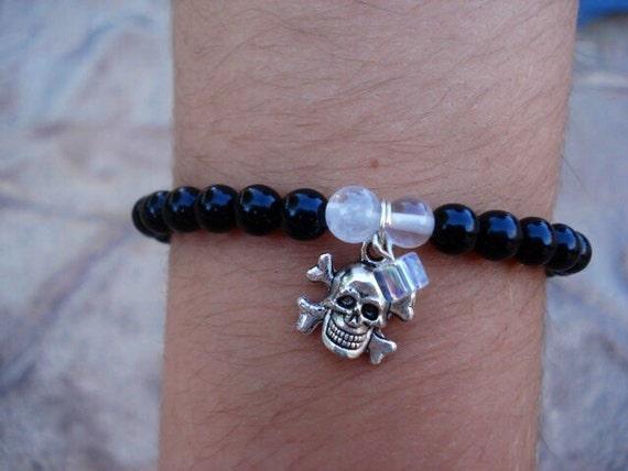 Skull Charm Bracelet, Onyx Bracelet, Moonstone Bracelet, Stretch Beaded Bracelet. Gemstone Bracelet, Goth Bracelet, Steampunk Bracelet, OOAK