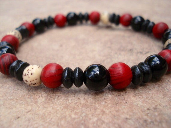 Black Obsidian Bracelet, Wood Bracelet, Red Bracelet, Stackable Bracelet, Yoga Bracelet, Stretch Bracelet, Beaded Bracelet, Mala Bracelet