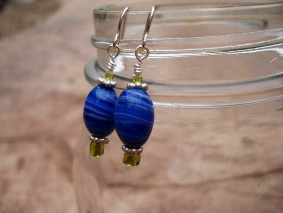 Blue Milk Glass Earrings, Cobalt Blue Beaded Earrings, Peridot Seed Bead Earrings, Bali Silver Earrings, Dangle Drop Hook Earrings, OOAK
