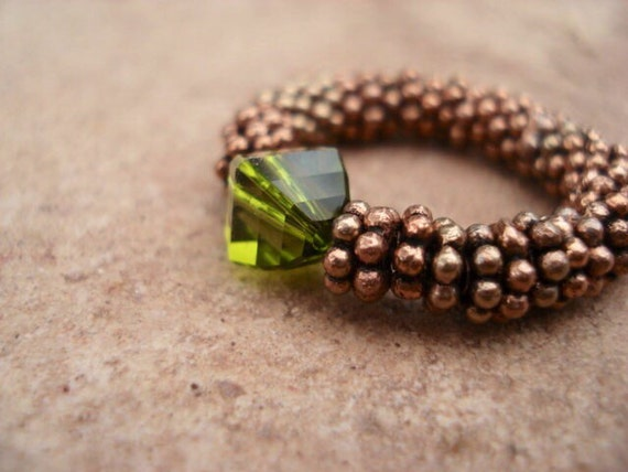 Green Crystal Ring, Copper Beaded Ring, Adjustable Ring, Womens Stretch Ring, Healing Ring, Gemstone Ring, Bohemian Ring, Boho, Gift For Her