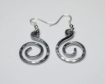 Hammered Spiral Aluminum Dangle Earrings