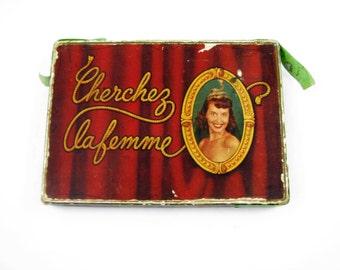 Vintage 1950s Cherchez La Femme Large Playing Cards With Nude Women