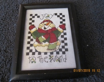Snowman Holiday Cross Stitch Pcture