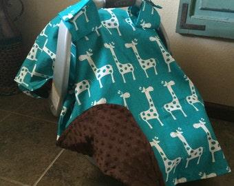 Giraffe print waterproof minky carseat canopy