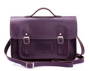 Large Wooster British Handmade Leather Satchel with Top Handle - Purple