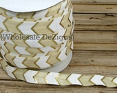 "White, Ivory, & Gold Arrows FOE - Fold Over Elastic - Metallic Foil - 5/8"" Foe Headbands - Hair Ties - Shiny Satin Elastic"