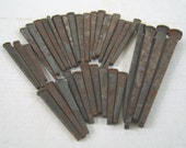 Vintage Salvaged Flat Square Head Metal Nails Lot of 34 - Assorted Lengths