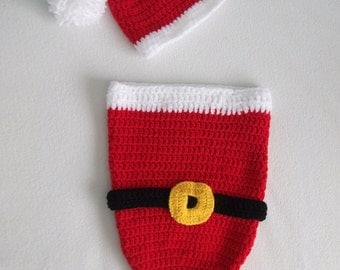 Newborn Santa Baby cocoon and hat Photo Prop, Crochet, Red and white-Christmas Gift