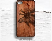 iPhone SE Case, iPhone 6S Plus Case Wood Print, iPhone 5s Case Moose, iPhone 6 Case, Antlers iPhone Case, Rustic Wood iPhone Cover T126