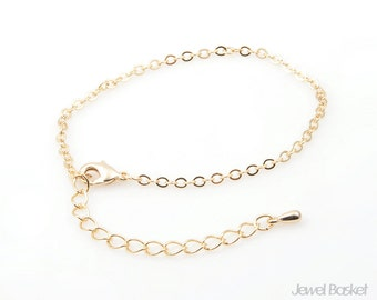 """5"""" Gold Plated Chain with Extension - 245SF (1.9mm x 2.6mm) / 5 inch (13cm) / COG006-CH (5pcs)"""